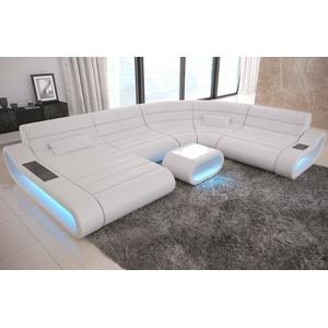 Ecksofa Ledercouch Modern CONCEPT XXL Couch Eck Wohnlandschaft Sofa Ottomane LED