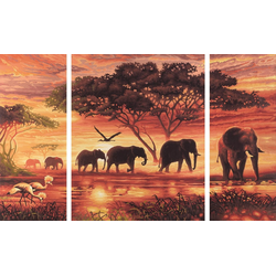 Schipper Malen nach Zahlen Afrika-Elefanten-Karawane Triptychon bunt