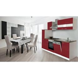 Respekta Küchenzeile KB250WR 250 cm Weiß - Rot