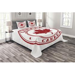 Tagesdecke Set mit Kissenbezügen Waschbar, Abakuhaus, Kanada Gummi-Stempel-Entwurf 264 cm x 220 cm