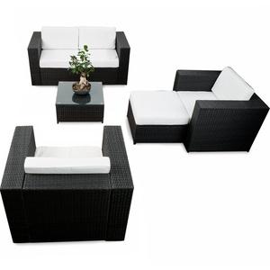 erweiterbares 15tlg. Lounge Sofa Sitzgruppe Polyrattan - schwarz - Gartenmöbel Sitzgruppe Garnitur Lounge Möbel XXL Set - inkl. Lounge Sofa + Sessel + Hocker + Tisch + Kissen