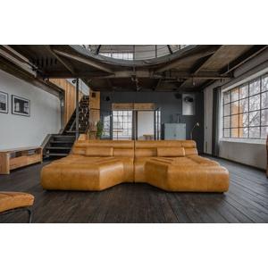 KAWOLA Big Sofa TARA Wohnlandschaft Leder cognac mit Kissen 286x75x148cm (B/H/T)