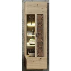 Wandvitrine in Wildeiche Hirnholz Optik modern