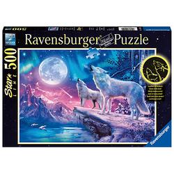 Puzzle 500 Teile, 49x36 cm, Star Line, mit Leuchtfarbe, Wolf im Nordlicht