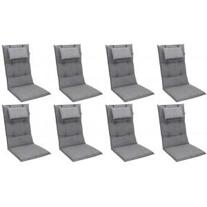 Doppler 8x 6994 Hochlehner Gartenstuhl Auflagen 8cm Kopfkissen grau