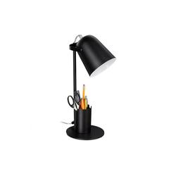 relaxdays Schreibtischlampe Schreibtischlampe mit Stifthalter schwarz