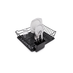 UNIQ DEALZ Geschirrständer Abtropfgestell mit Abtropfschale PVC beschichtet und rostfrei - Geschirrabtropfgestell mit Abtropfschale schwarz