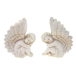 G. Wurm Dekofigur 2er Set Engel sitzend Figur 18 cm weiß Angel