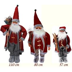 Weihnachtsmann Figur Rot/Grau - Nikolaus XXL Dekofigur Weihnachten