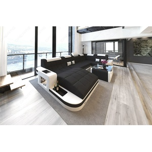 Wohnlandschaft Couch Wave U Form Design Sofa Stoff Farbauswahl Materialmuster