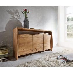 DELIFE Sideboard Live-Edge 145 cm Akazie Natur 3 Türen, Sideboards, Baumkantenmöbel, Massivholzmöbel, Massivholz
