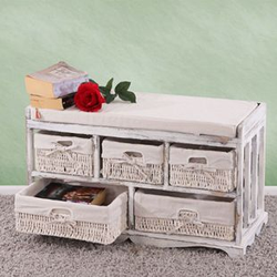 Kommode und Sitzbank mit 5 Schubladen, 77x45x36cm, Shabby-Look, Shabby-Chic, Vintage ~ weiß