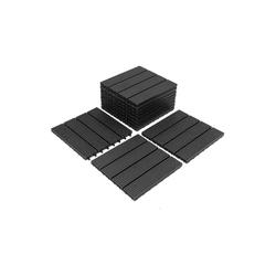 Einfeben Terrassenfliesen WPC Fliesen 11 Stück 1m² 30x30 cm Terrassendielen Holzfliesen Fliese in Holzoptik Bodenbelag mit klicksystem für Terrassen und Balkon, Holzoptik, klicksystem grau