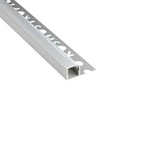 LED Aluprofil T77 silber 10mm Fliesenprofil + Abdeckung Abschlussleiste Bordüre Fliesen für LED-Streifen-Strip 2m milky