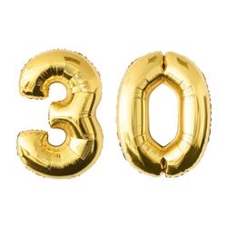 MyBeautyworld24 Folienballon Folienballon Zahlenballon in der Farbe gold Heliumballon Riesenzahl Geburtstag Deko Höhe 100 cm 30