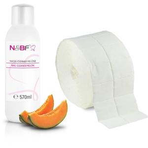 N&BF Nagel Cleaner Set mit Duft 570ml + 1000 Zelletten Cellulose Pads (2 Rollen à 500 Stück) - 70% Isopropanol-Alkohol – für Gelnägel – Nagelreiniger – kosmetisch rein in Studioqualität (Melone)