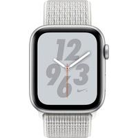 Apple Watch Nike+ Series 4 (GPS + Celllular) 40mm Aluminiumgehäuse silber mit Nike Loop Sportarmband summit white