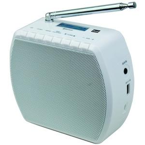 Dual STR 101 Steckdosenradio (UKW-Radio, Bluetooth für Audiostreaming, AUX-In-Eingang, Akkubetrieb) Weiß