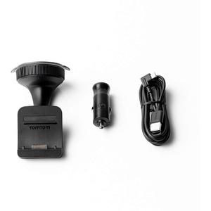 TomTom Click & Go Halterung für die Windschutzscheibe inklusive USB-Autoladegerät und Kabel für alte TomTom GO und Trucker Modelle (siehe Kompatibilitätsliste unten)