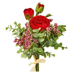 Kunstblume Rosenstrauß gebunden Rosen Blumenstrauß 45 cm 1 Stk rot Rosen, matches21 HOME & HOBBY, Höhe 45 cm, Indoor rot