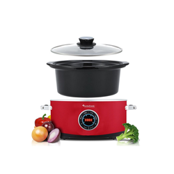 TurboTronic by Z-Line Schongarer Slow Cooker 6,5L, digital, Schongarer, Dampfgarer, 300 W, Warmhaltefunktion, Schongarer, Dampfgarer, Schmortopf, Gartopf, Sous Vide, Retro, Rot