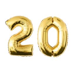 MyBeautyworld24 Folienballon Folienballon Zahlenballon in der Farbe gold Heliumballon Riesenzahl Geburtstag Deko Höhe 100 cm 20