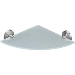 AMARE Glasablage, Exklusive Eck Regal, Ablage aus Edelstahl und Glas, Bad Badablage Badregal Glasablage Glasregal, Wandregal (Edelstahl (Gebürstet), 25 cm x 25 cm)