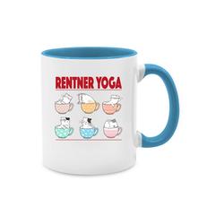 Shirtracer Tasse Rentner Yoga Katzen in Tassen - Tasse zweifarbig