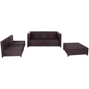 Poly-Rattan-Garnitur Tapa, Gartengarnitur Sitzgruppe Lounge-Set, Alu braun