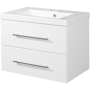 Waschtisch mit Unterschrank Auszüge Waschbeckenunterschrank hochglanz weiß 70 cm