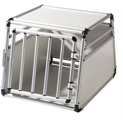 EUGAD Tiertransportbox 0059HT Alu Hundetransportbox Hundebox Hundekäfig Autobox, 8 kg 69 x 54 x 50 cm Silber