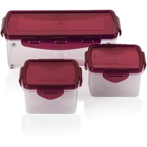 Genius Nicer Dicer Fusion smart (6 Teile) in Rubinrot inkl. Frischhaltedeckel(1x 1,25l & 2x0,4l) Auffangbehälter Dosen Box Aufbewahrungs-box Vorrats-Dose Frischhalte-Dose