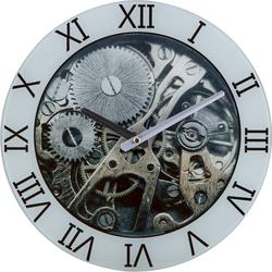 Glasuhr Wanduhr Motiv-Uhrwerk Glas Grau D 30 cm Industriell Esszimmer Küche Flur