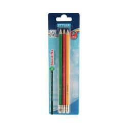 3 Bleistifte mit Radiergummi, FSC