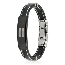 BUNGSA Armband Armband Gleichheitszeichen schwarz aus Gummi Unise (inkl. Schmuckbeutel aus Organza), Bracelet Armschmuck Damen Herren Freundschaft