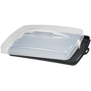 Xavax Kuchen Transportbox rechteckig (Kuchenbox für Blechkuchen, Kuchencontainer mit Deckel und Tragegriff, spülmaschinengeeigneter Kuchenbehälter) grau