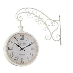 elbmöbel Wanduhr Uhr Bahnhofsuhr in Weiß (Uhr Bahnhofsuhr in Wei)