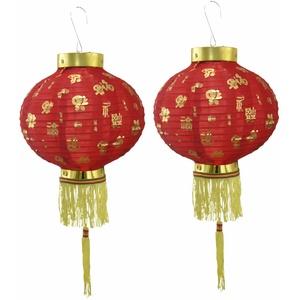 """Ein Paar 20,3 cm 20 cm rot Chinesische Neue Jahr Laternen-Deko-Set von 5,1 cm Fu """"Viel Glück Stoff Decor"""