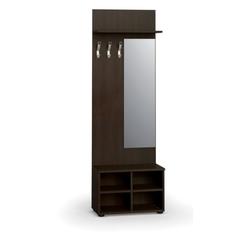 Garderobenwand, schuhregal + spiegel, 3 haken, ablage, wenge