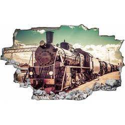 DesFoli Wandtattoo Fotografie Eisenbahn Lok Vintage C1771 bunt 100 cm x 70 cm