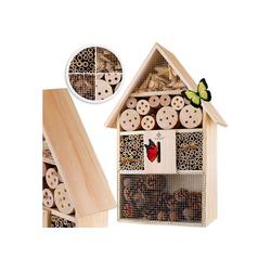 KESSER Insektenhotel, aus Holz naturbelassenes Insekten Hotel für Fluginsekten für Bienen Marienkäfer Schmetterlinge Fliegen Insektenhaus Nistkasten Brutkasten braun 31 cm x 48 cm x 10 cm