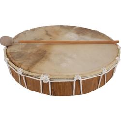 Guru-Shop Spielzeug-Musikinstrument Flache Holztrommel, Handtrommel - 40 cm deluxe 40 cm x 8 cm x 40 cm