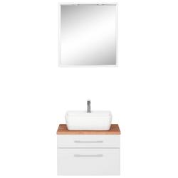 HELD MÖBEL Badmöbel-Set Davos, (2-tlg), mit rechteckigem Waschbecken weiß