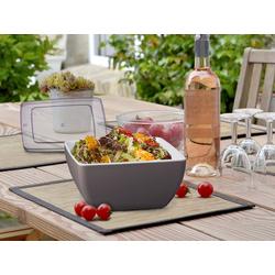 APS Schüssel, Melamin, mit Weich-Deckel, Campinggeschirr, Geschirr für Wohnmobil, Picknickgeschirr Outdoor braun