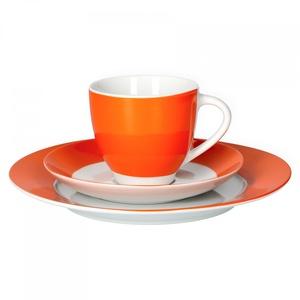 Van Well Kaffeeservice 18-TLG. für 6 Personen Serie Vario Porzellan - Farbe wählbar, Farbe:orange