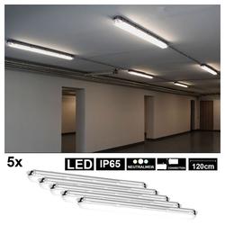 etc-shop Außen-Deckenleuchte, 5er Set LED Decken Wannen Leuchten Feucht-Raum Werkstatt Beleuchtung ALU Lampen
