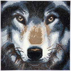 Crystal Art Kit auf Holzrahmen-Leinwand - Wolf, 30 x 30 cm mehrfarbig