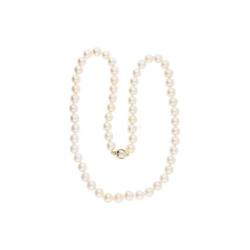 JuwelmaLux Perlenkette Perlenkette Gold/ Weißgold (1-tlg), Damen Perlenkette Gold/ Weißgold 585/000, inkl. Schmuckschachtel