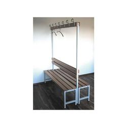 SZ METALL Sitzbank, Doppel-Sitzbank 1,50 m, mit Hakenleiste-Garderobe 150 cm x 42 cm x 30 cm