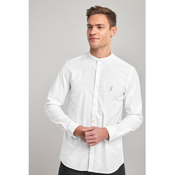 Next Hemd Oxford-Stretchhemd mit Grandad-Kragen M